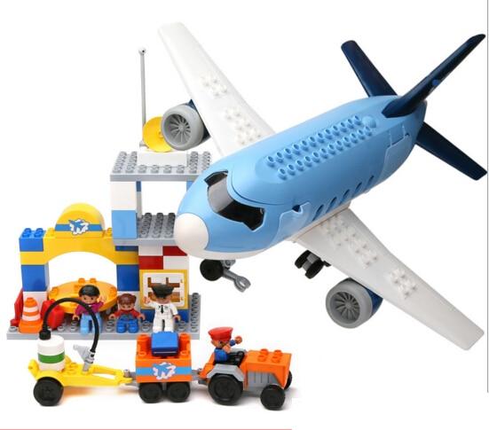 69 stks Kinderen bouwstenen Plastic model kits luchthaven Aerospace gemonteerd model kinderen speelgoed