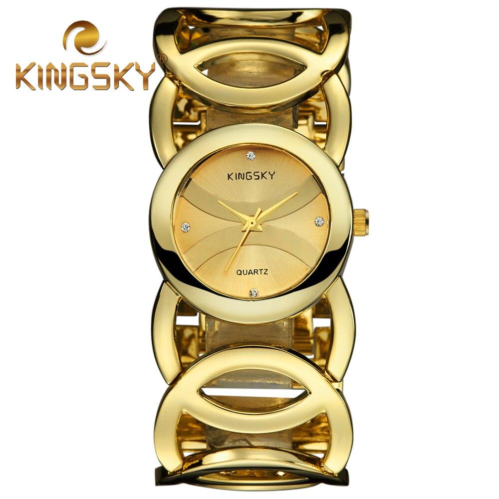 Prix pour 2017 nouvelle marque de luxe kingsky femmes bracelet montre mode casual robe montres dame squelette bracelet en acier quartz montre-bracelet