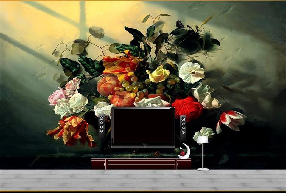 Custom photo 3d room wallpaper Non-woven mural White rose fruit flowers 3d wall murals wallpaper for walls decoration painting 3d room wallpaper custom mural non woven wall sticker 3 d scenery suspension bridge porch paintings photo wallpaper for walls 3d