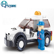 Security Car Police Jeep Building Blocks Compatible with Legoelieds Playmobil for Boys Educational DIY Toys for Children B0350