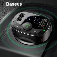 Baseus двойной зарядное устройство USB с fm-передатчик Bluetooth Handsfree fm-модулятор телефон зарядное устройство в автомобиле для iPnone Xiaomi HUAWEI