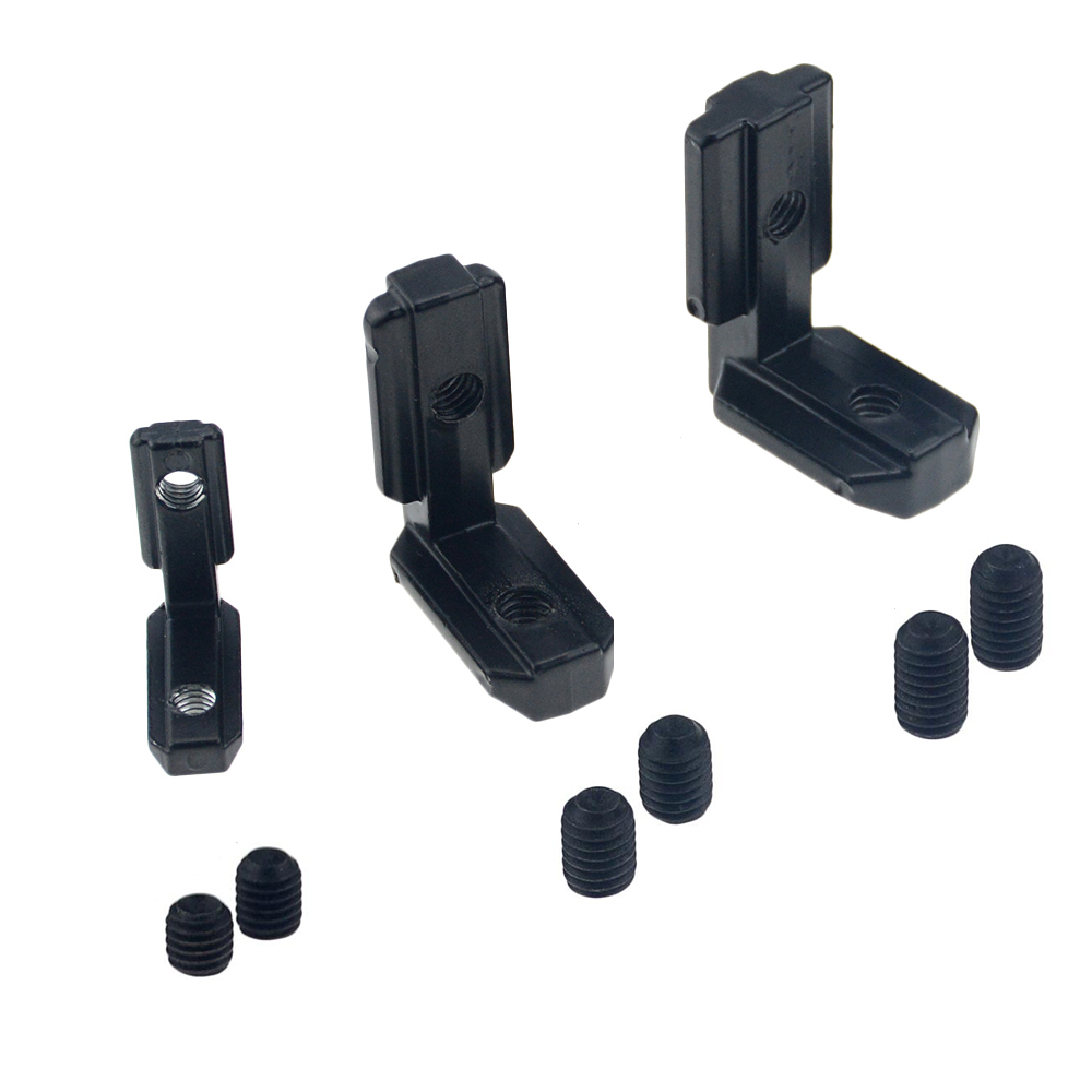 1PC Black L Shape Interior Corner Connector Joint Bracket With Screws For 2020 3030 4040 EU Aluminum Profile