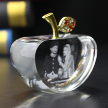 Creative Apple Shaped Customized Laser Engraved Crystal Photo Frame