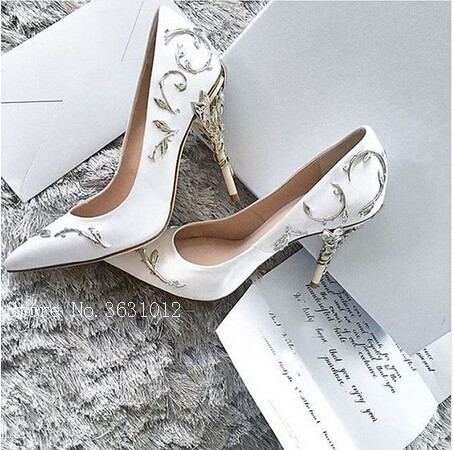 2018 Ornate Filigree Leaf Party Women Pumps Chic Satin Stiletto Wedding Shoes Pointed Toe High Heels Bridal Shoes Woman Ladies 4 34 small size gold shoes wedding pointed toe 7cm 3 inch satin high heels stiletto 33 flower pumps ladies colourful embroidery