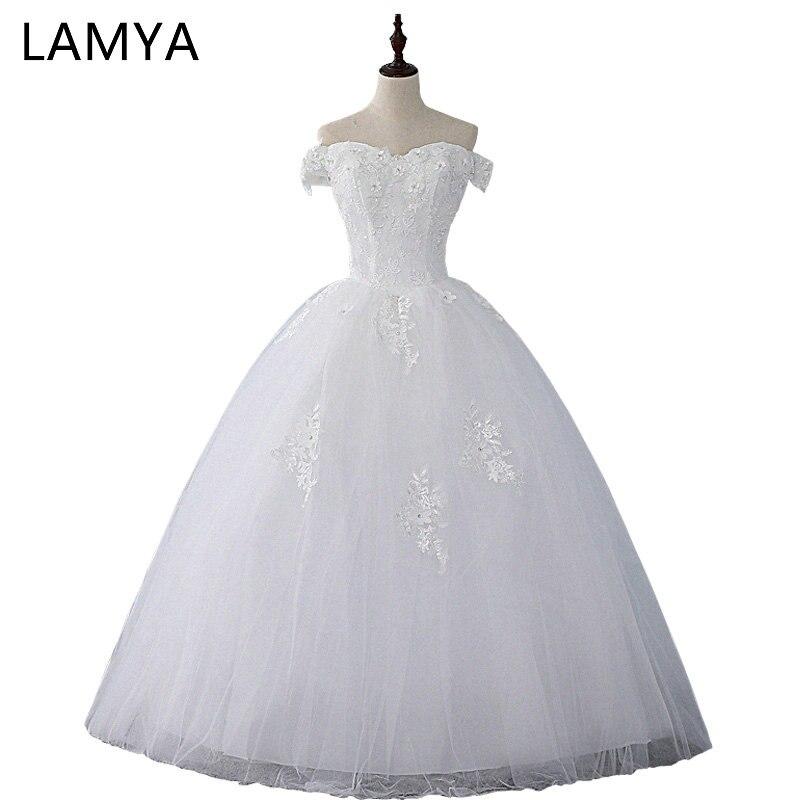LAMYA Lace Appliques Bridal Gowns Plus Size Wedding Dresses 2019 Cheap Real Photo Ball GownVestidos de Novia Wedding Dress
