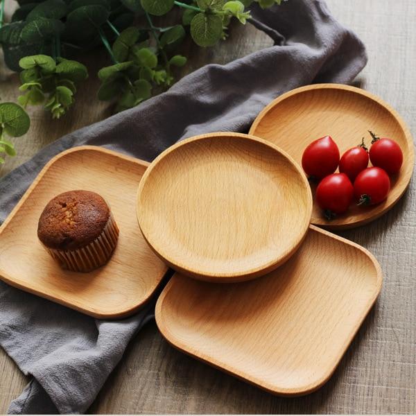 Деревянная сервировочная тарелка, деревянная квадратная и круглая сервировочная тарелка, фруктовый десертный торт Снэк Конфета тарелка деревянные миски-5