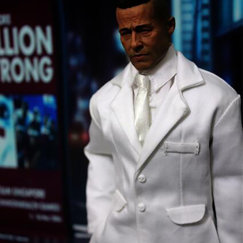 DOLLSFIGURE FT167 White Suits Clothing Sets/Brad Pitt Head Carving Sculpt THREEQ MG002 1/6 Scale Fit 12
