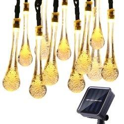 LYFS 20/30LED Seqüência de Luz Solar Ao Ar Livre À Prova D' Água Gota de Água Luzes De Fadas Decoração Para Jardim Festa de Natal Iluminação