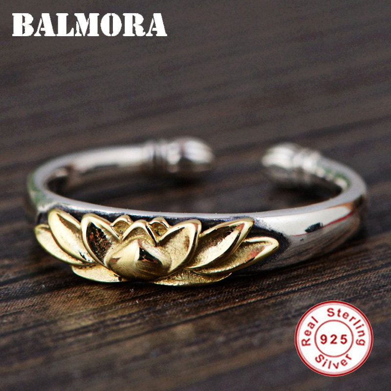BALMORA Solid 925 Sterling Silver Lotus Flower Open Rings for Women Men Gift Retro Ring Sterling Silver Jewelry Anillos SY22078
