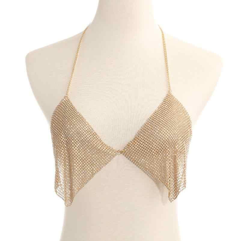 OTOKY 2018 moda kryształ ciała biustonosz naszyjnik Bikini ciało kobiety bralette łańcuch plaża naszyjnik łańcuch Party ciało biżuteria Mar29