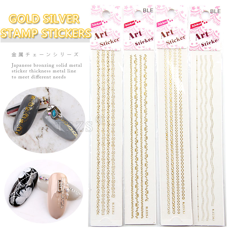 14pcs/lot Self Adhesive Long flower Nail Art Strip Stickers Color gold & silver stamp