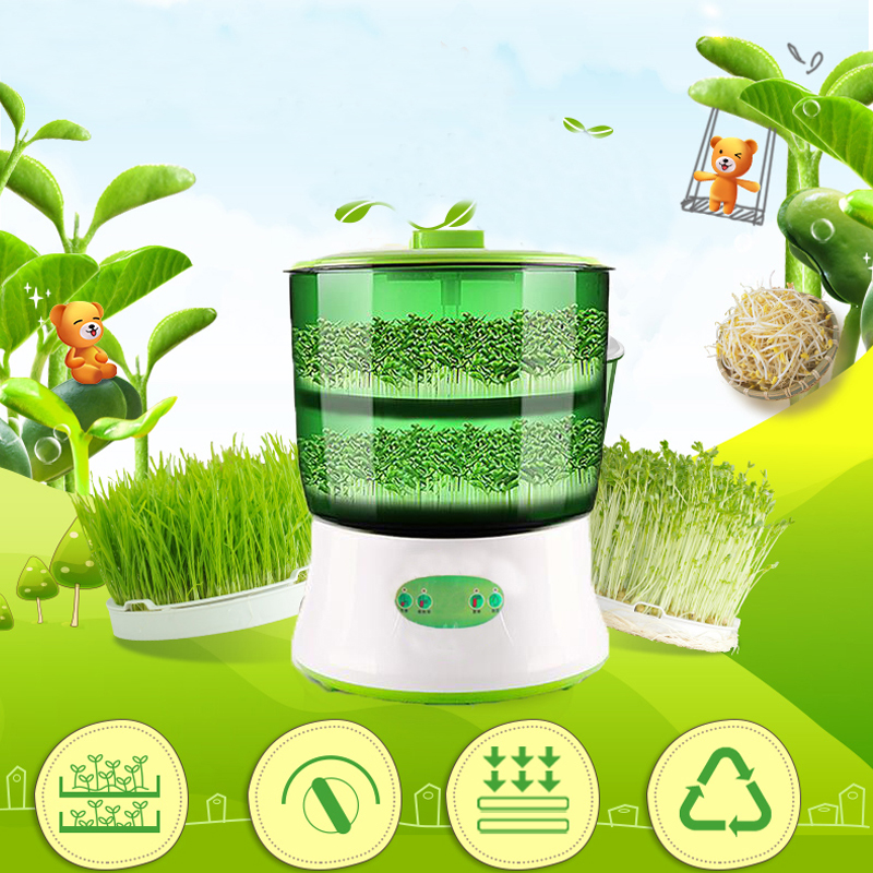 Intelligent Bean Sprouts Maker household Upgrade Large Capacity Thermostat Green Seeds Growing Automatic Sprout Machine EU
