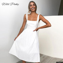 WildPinky 2019 Sleeveless Dress Women Summer Boho Beach Dresses Casual Solid Strap A-line Midi Party Vestidos