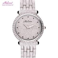 Лучший bling горный хрусталь Роскошные дамы наручные часы женщины одеваются часы моды случайные кварцевые часы Лучший бренд Melissa 6080 часы час