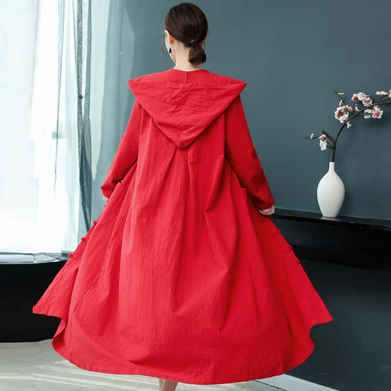 Gabardina para mujeres estilo chino abrigos largos Mujer invierno 2018 otoño tendencia estilos mujeres cálido trenchcoat KK2641 L