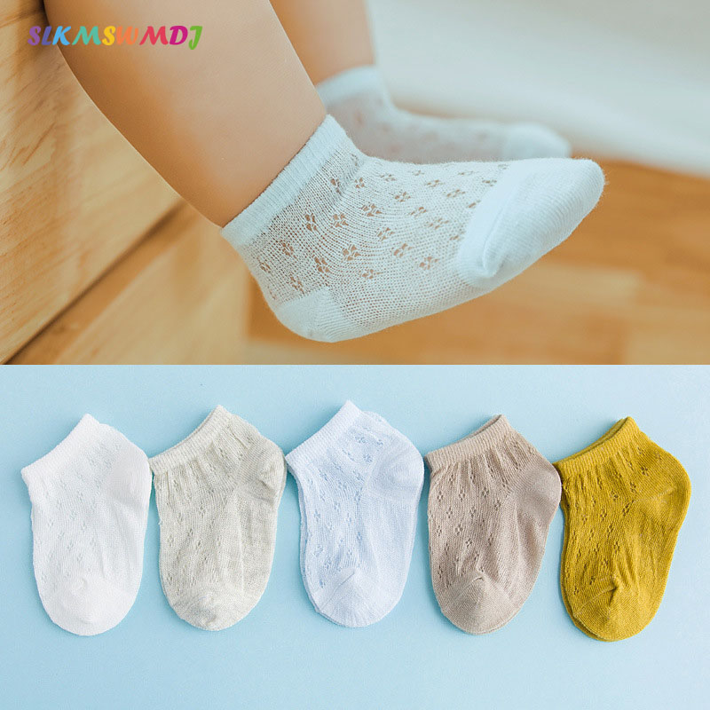 SLKMSWMDJ novo verão ultra-fina meias bebê malha respirável unisex crianças meias barco meias meias de algodão cor sólida para 0 -5 anos de idade