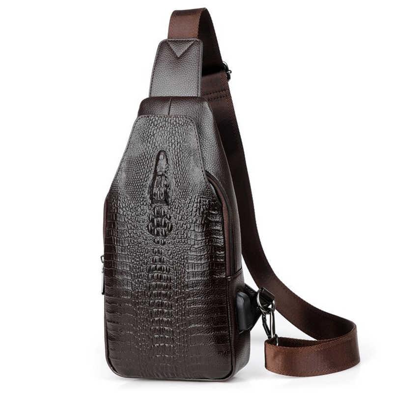 c551ee4385eb Новая модная мужская сумка-мессенджер из кожи с USB зарядкой повседневная  мужская дорожная сумка через