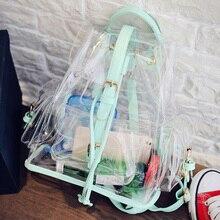Мода лето розовый зеленый прозрачный рюкзак Лолита студент SAC DOS Mochila Рюкзак Девушка пакет