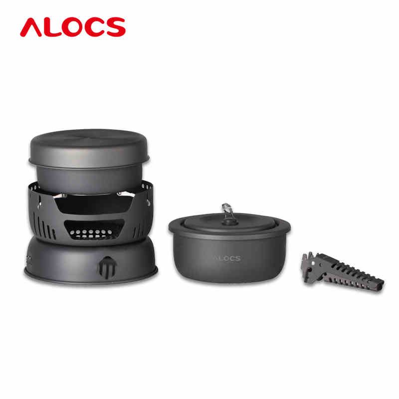 ALOCS Camping Cook Set With Alcohol Furnace Wind Cap Ultralight Hard Alumina Pot Outdoor Pan Flambe Pan 2-4 People 10PCS CW-C05 alocs cw k05 handy portable outdoor cooker pan pot w whisle lid deep grey green