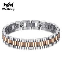 WelMag Pure Germanium Healing Bracelets Bangles for Women Stainless Steel Arthritis Bracelet Femme Silver Rose Gold Wristband