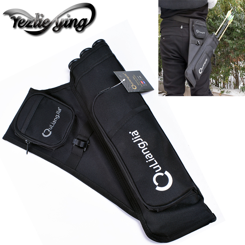 Hunting Black 3 Tubes Fixed Arrow Quiver Archery Hunting Arrows Holder Bag Right Handed Arrow Bag in Bow Arrow from Sports Entertainment