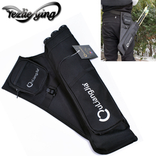 Hunting Black 3 Tubes Fixed Arrow Quiver Archery Hunting Arrows Holder Bag Right Handed Arrow Bag недорого