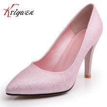 2016 marke weibliche 3 farben rosa schwarz blau flach prägnant Neue mode sexy frauen pumpt spitz Damen hohe heeles schuhe