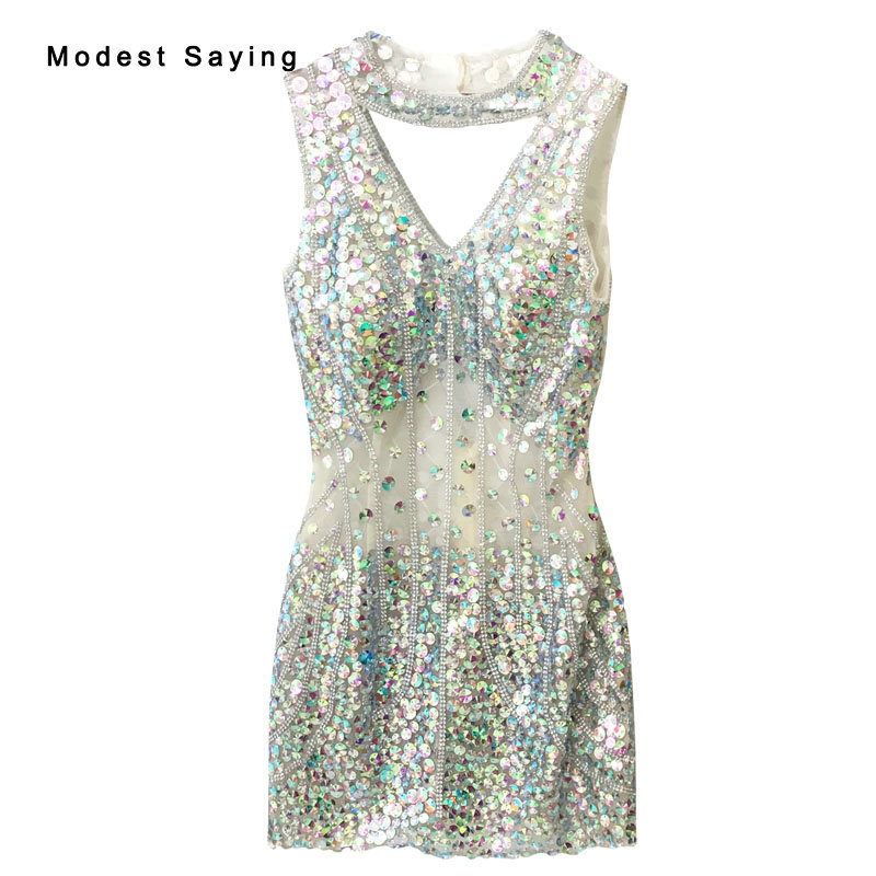 Real Sexy Luxury Party   Dress   See Through Diamond Rhinestone Beading Mini   Cocktail     Dresses   2017 High Neck Short Prom Gowns TE6