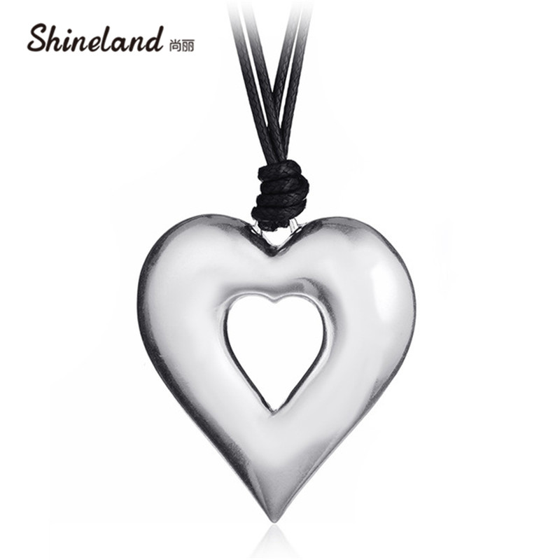 Shineland 2 Layer Black PU Leather Vintage Love Heart Hollow Pendants Burning & Wire Drawing Silver Pendants for Women Men 2018