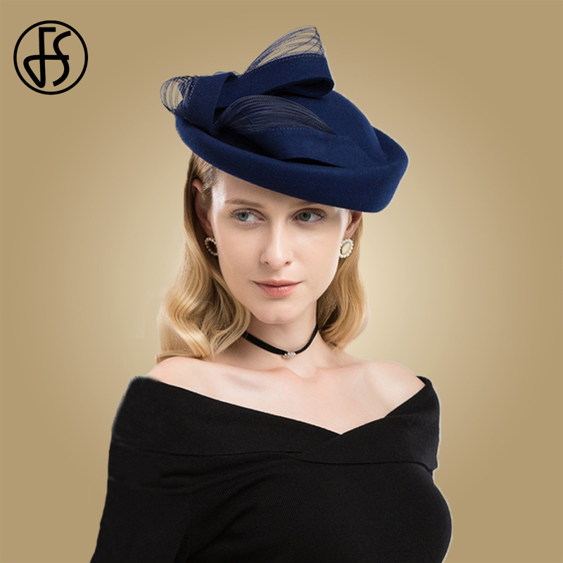 FS Black Wool Wedding Hat Fascinator Cocktail Hats For Women Elegant Blue Red Winter Church Fedora
