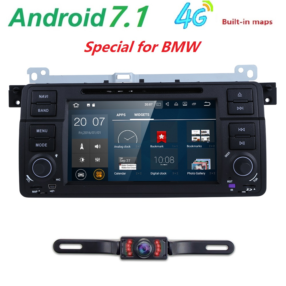 Free Camera Android 7.1 1 Din AutoRadio Car DVD Multimedia Player For BMW E46 M3 318/320/325/330/335 1998 2006GPS Navigation BT