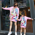 2016 Mother Daughter Dresses Pink Art Spring Family Look Funny Matching Clothes European Style Cartoon Print Girls Dress
