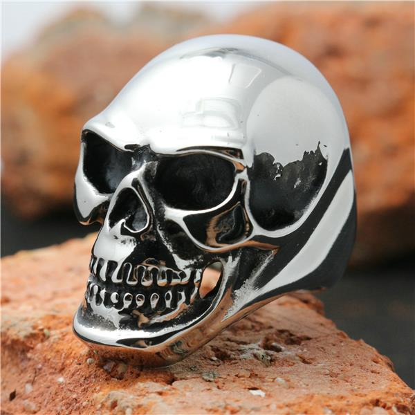 все цены на Mens Boys 316L Stainless Steel Punk Gothic Cool Big Polishing Silver Skull Ring Factory Price