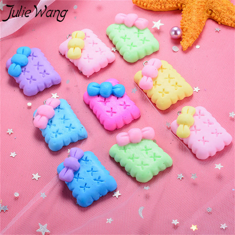 <font><b>Julie</b></font> Wang 10pcs Colorful Bowknot Cookie Biscuits Charms Bracelet Hairband Pendant Hanging <font><b>Decor</b></font> Craft Jewelry Making Accessory image