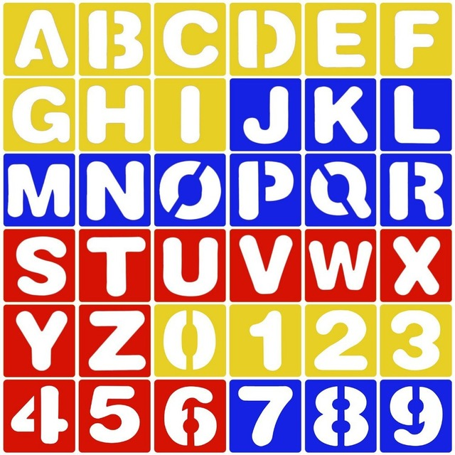 26 Letters Alphabet And 10 Numbers Graffiti Stencil For Kids