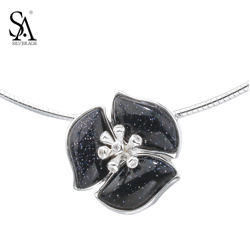 SA SILVERAGE Real 925 Sterling Silver 2017 New Arrival Top Quality Fine Jewelry Choker Rose Flower Necklace Chain Short Necklace jzn0007 top quality blue opal gem silver necklace new trendy necklace for women fine jewelry gorgeous unisex chain necklace