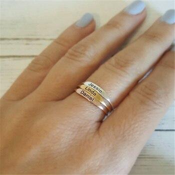 7ae05c6fe83c Delicado personalizado anillo grabado personalizado fecha inicial  coordenadas nombre anillos para mejor amigo joyas de la Memorial