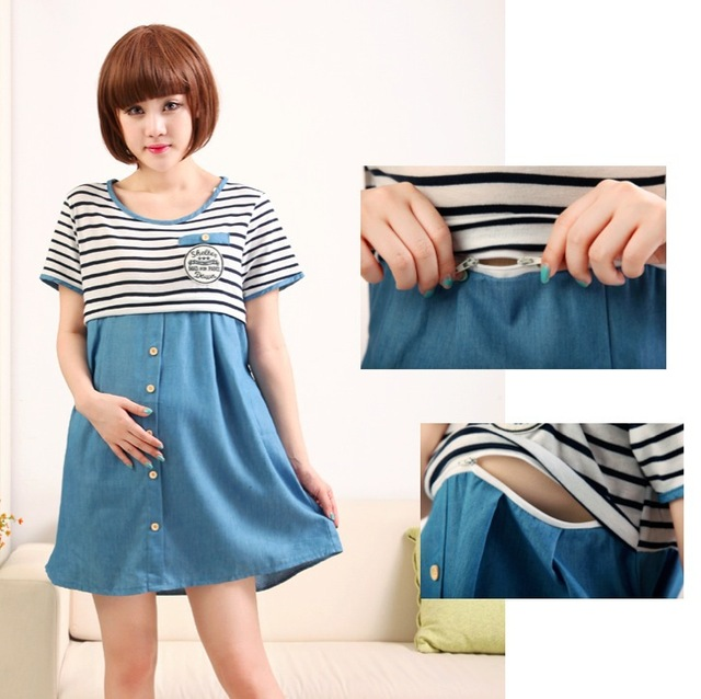 180ac995052 Nursing Dress Striped Denim Short Sleeve Cute Summer Maternity Dress  Nursing Tops Breastfeeding Clothes Vestido Gestante