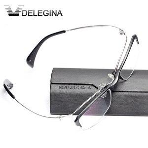 Image 3 - Luxe Titanium Frame Glas Half Velg Gothic Optische Brillen Frames voor recept bijziendheid leesbril