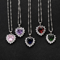 Green Pink Red Blue and Purple 5 Colors Pick AAA CZ Zircon with Rhinestone Heart Pendant Fine Wave Chain Necklace for Women