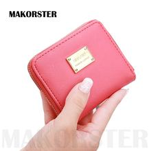 Casual short Wallet and purse for ladies PU leather mini Zipper coin purses female portfolio money wallets holders bags XH068