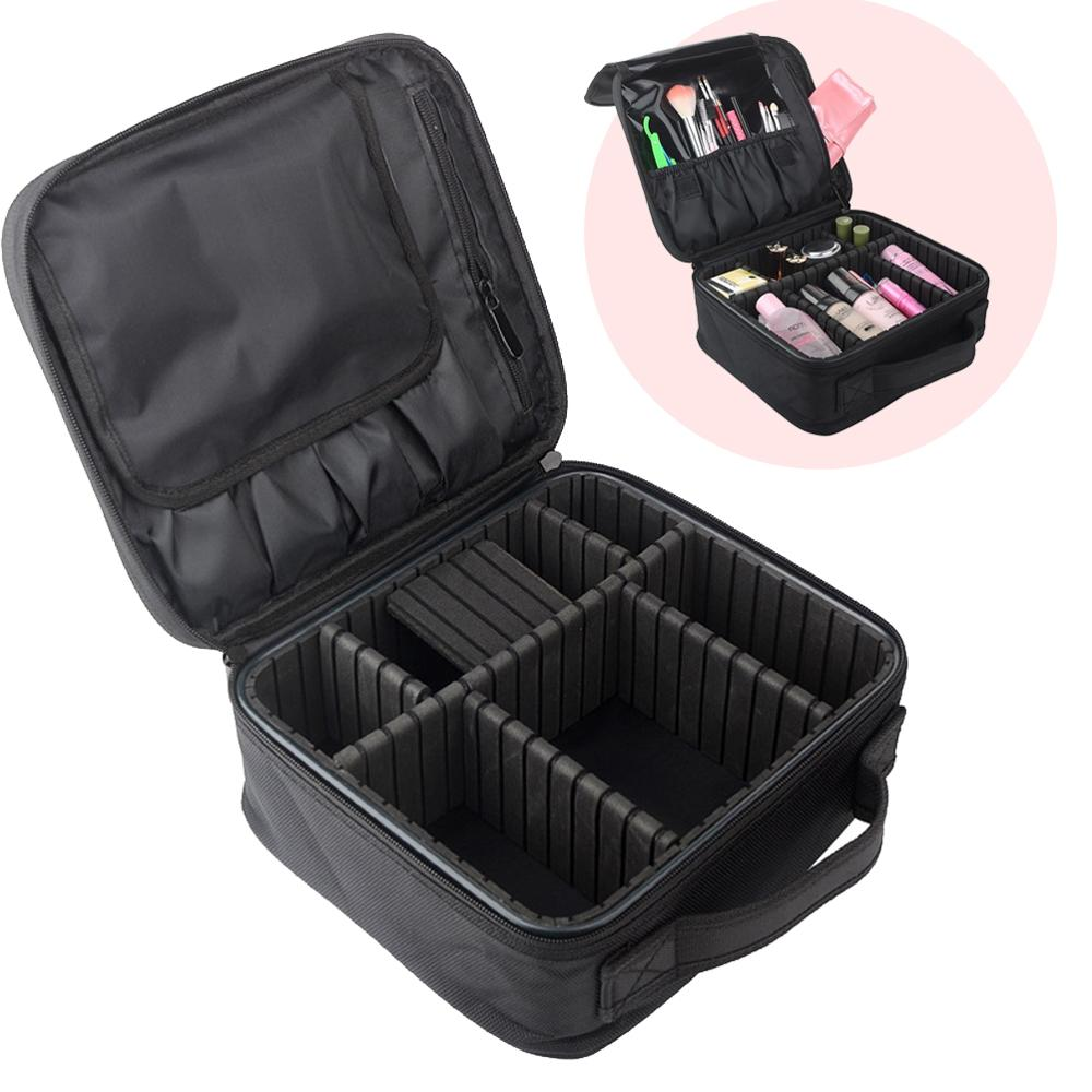Professional Makeup Tool Bag Carrying Handles Train Case Cosmetic Portable Travel Cosmetic Bag With Adjustable Dividers - Black