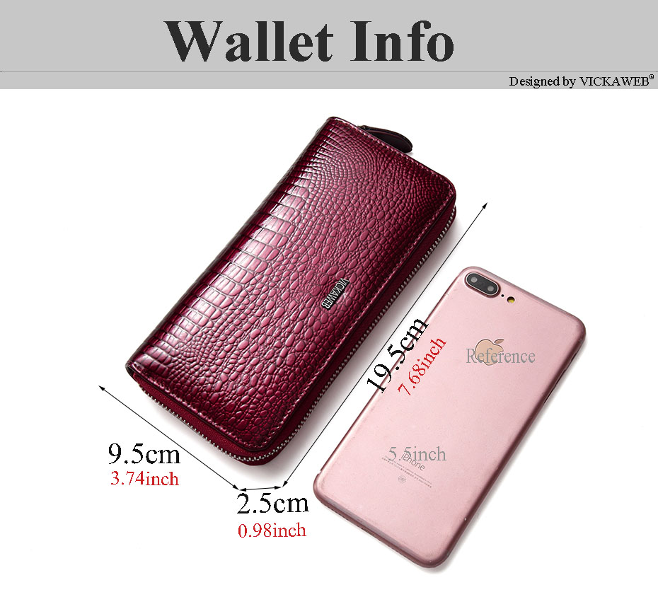 VICKAWEB Wristlet Wallet Purse Genuine Leather Wallet Female Long Zipper Women Wallets Card Holder Clutch Ladies Wallets AE38-002