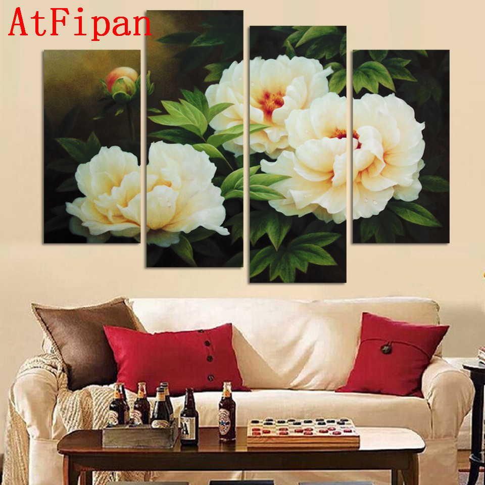 Atfipan High Quality Modular Oil Poster Hot Sale White Flower Peony