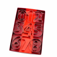 9PCS Creative Numbers Stainless Steel Mousse Cake Cookie Biscuit Moulds Cookie Cutter Fondant Icing Mold DIY
