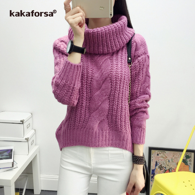 Kakaforsa Turtleneck Knitted Cotton Sweater Women Loose Long Sleeve  Pullovers Soft Jumper Autumn Winter Warm Knitting Sweaters