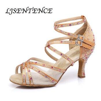 Women Salsa Dance shoes bronze satin shiny strass Cuban heels  latin ballroom sandals with transparent mesh LJSENTENCE g d wilson cuban dance op 86