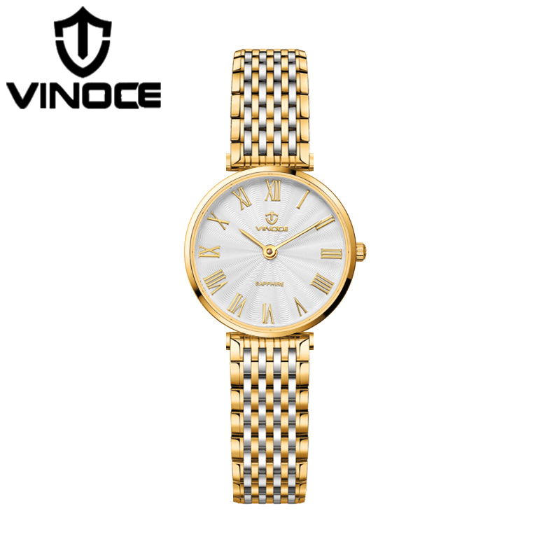 цены VINOCE 2018 Top Brand Luxury Quartz Watch Women Stainless Steel Band Bracelet Watches Waterproof Relogio Feminino