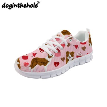 doginthehole Women Sport Walking Shoes Border Collie Pattern Flats Sport Shoes Mesh Outdoor Sneakers Girls Lightweight Lace-up