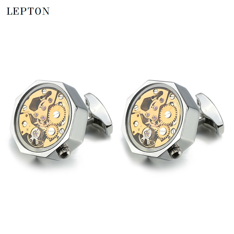 Hot Sale Gold Watch Movement Cufflinks With Glass Stainless Steel Steampunk Gear Watch Mechanism Cuff links for Mens gemelos